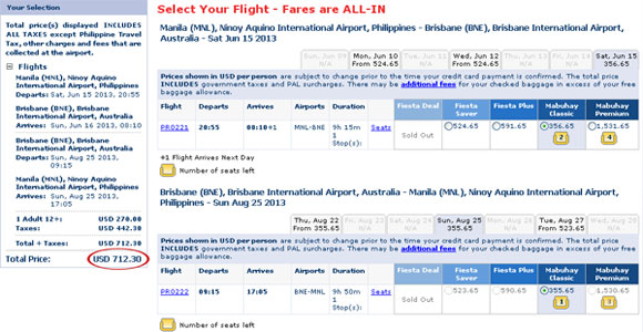 Philippine Airlines business class ticket
