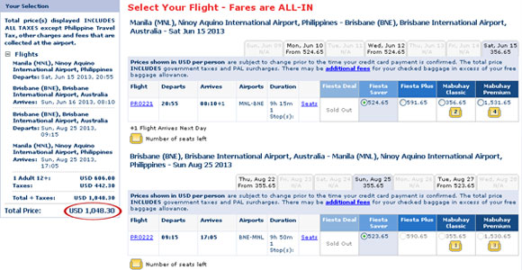 Philippine Airlines economy class ticket